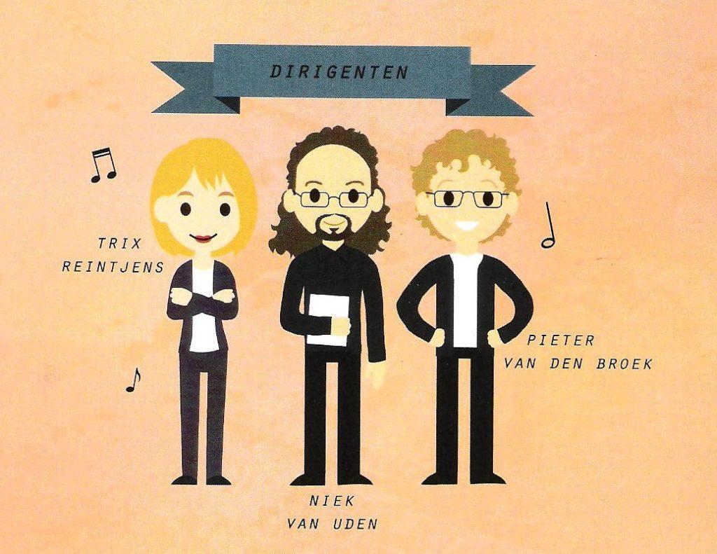 De drie dirigenten van dienst: Trix Reintjens, Niek van Uden en Pieter van den Broek